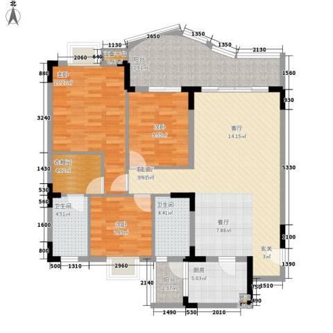 尚阳康城3室1厅2卫1厨104.00㎡户型图