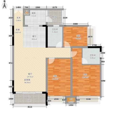 鹏基万林湖生态美墅3室0厅2卫1厨128.42㎡户型图