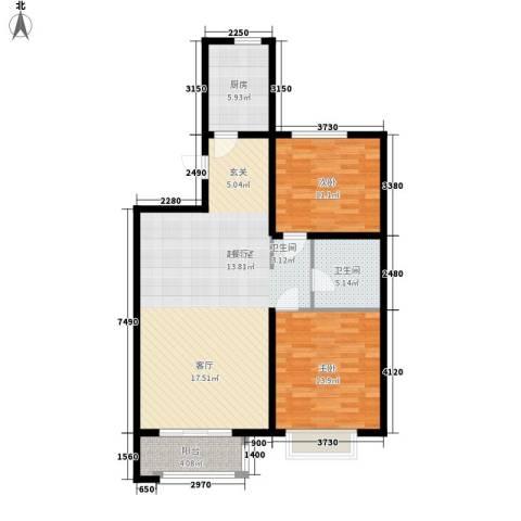 巴黎河谷巴黎阳光2室0厅1卫1厨89.00㎡户型图