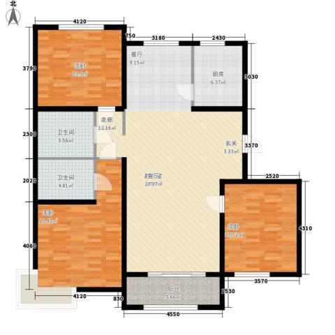 巴黎河谷巴黎阳光3室0厅2卫1厨128.00㎡户型图