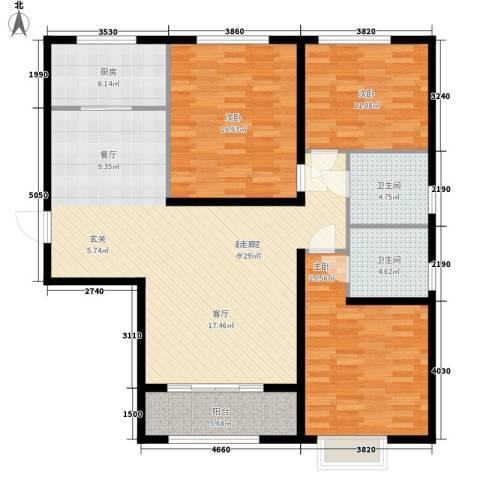 巴黎河谷巴黎阳光3室0厅2卫1厨118.00㎡户型图