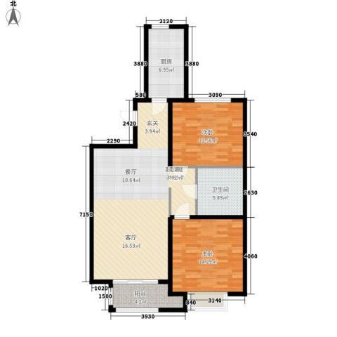 巴黎河谷巴黎阳光2室0厅1卫1厨88.00㎡户型图