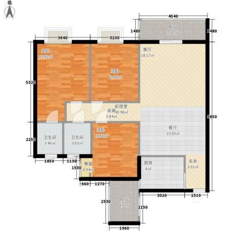 龙井湾住宅小区3室0厅2卫1厨144.00㎡户型图