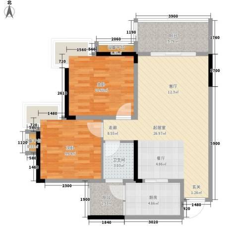 达飞苑2室0厅1卫1厨65.08㎡户型图
