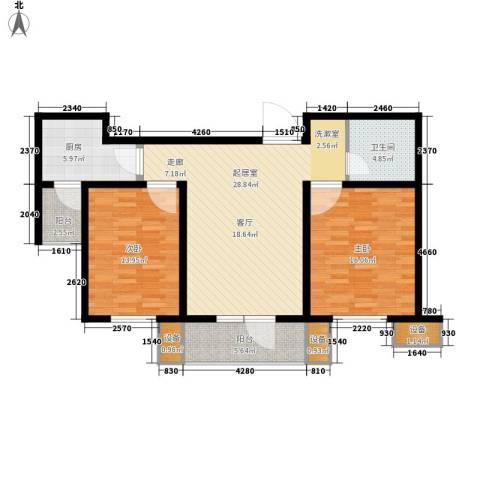 明城东岸2室0厅1卫1厨93.00㎡户型图