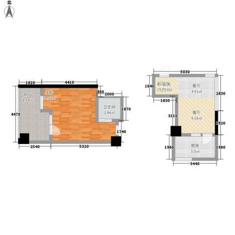 汽车西站商贸城居民楼1室0厅1卫1厨74.00㎡户型图
