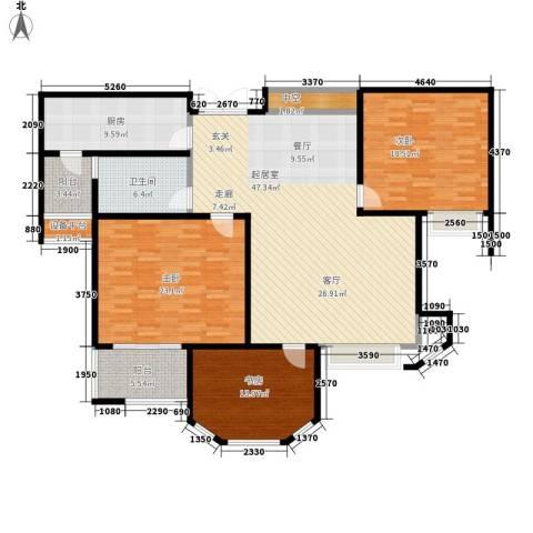 达飞苑3室0厅1卫1厨144.00㎡户型图