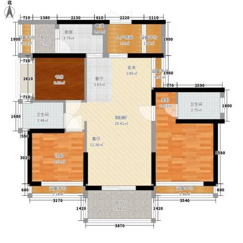 宝嘉上筑3室1厅2卫1厨101.00㎡户型图