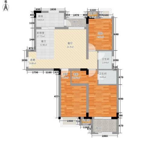 新贵华城3室0厅2卫1厨117.00㎡户型图