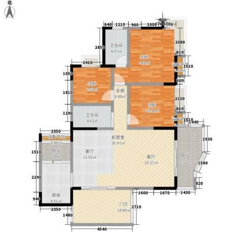 同创米兰天空3室0厅2卫1厨106.68㎡户型图