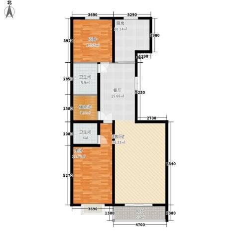 山水宜居2室0厅2卫1厨126.00㎡户型图