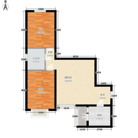 山水宜居2室0厅1卫1厨87.00㎡户型图