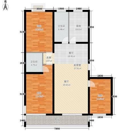 金水豪庭3室0厅2卫1厨129.00㎡户型图