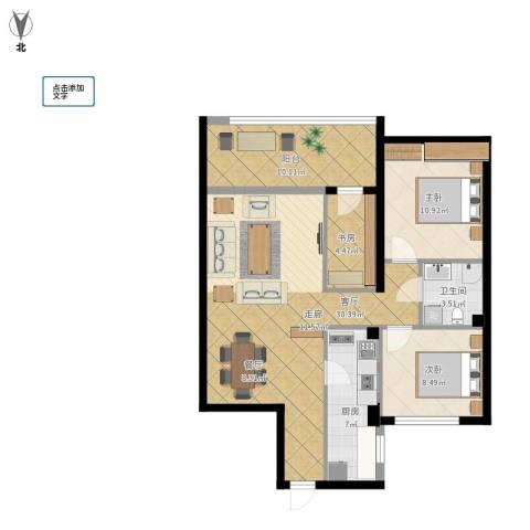 大兴九臻3室1厅1卫1厨106.00㎡户型图