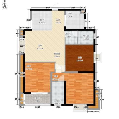福地小区3室0厅2卫1厨141.00㎡户型图