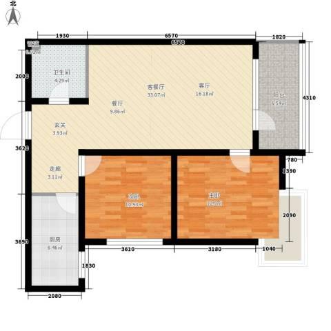 银湖馨苑2室1厅1卫1厨84.45㎡户型图