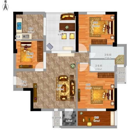 天瑞公馆4室2厅2卫1厨117.00㎡户型图