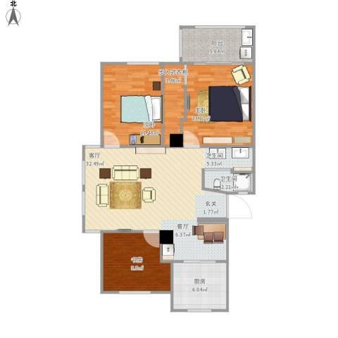 余姚阳光美地3室1厅1卫1厨114.00㎡户型图