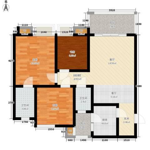 陆峰房产小区3室0厅2卫1厨124.00㎡户型图
