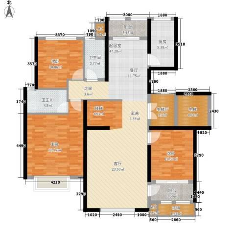乡居假日二期香醍园3室0厅2卫1厨153.00㎡户型图