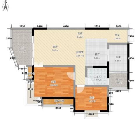 同创米兰天空2室0厅1卫1厨77.00㎡户型图