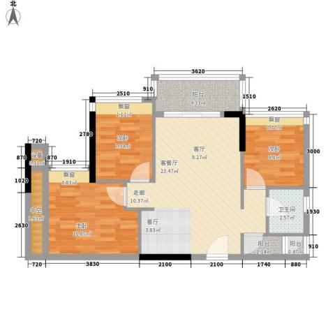 时尚明苑3室1厅1卫0厨84.00㎡户型图