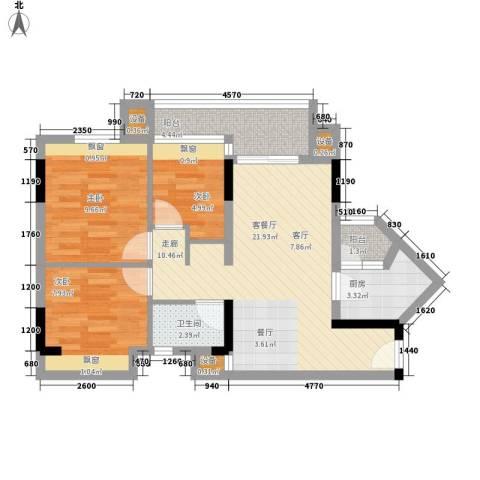 时尚明苑3室1厅1卫1厨85.00㎡户型图