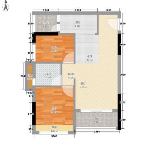 时尚明苑2室1厅1卫1厨63.00㎡户型图