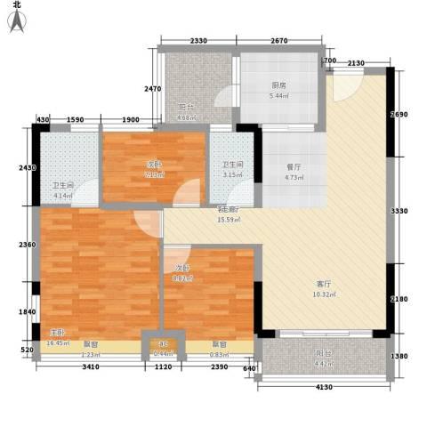 时尚明苑3室1厅2卫1厨98.00㎡户型图