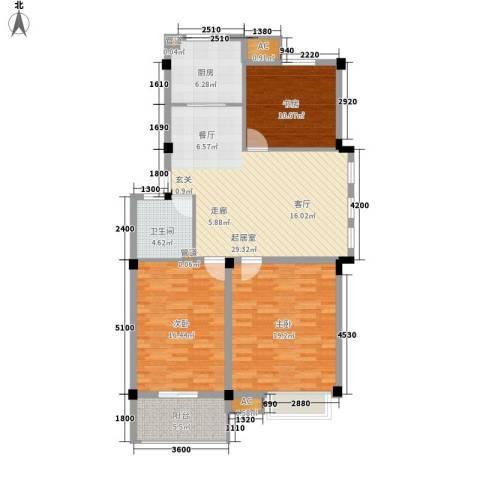 红叶枫情水岸3室0厅1卫1厨104.96㎡户型图
