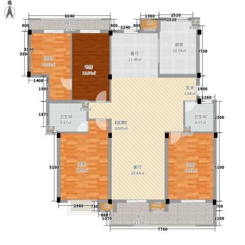 红叶枫情水岸4室0厅2卫1厨174.10㎡户型图