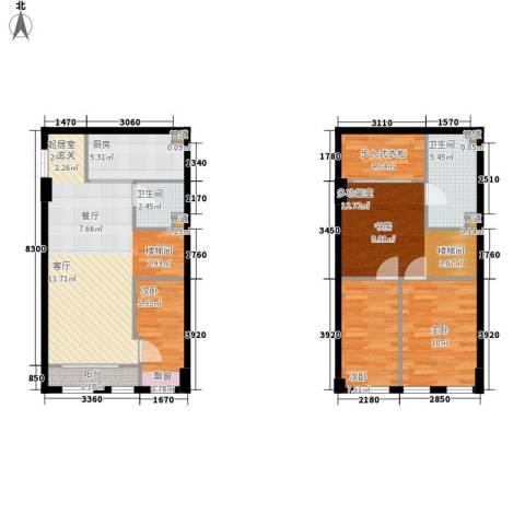 帝景现代城3室0厅2卫1厨93.00㎡户型图