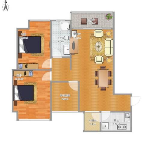 南海钜隆风度广场2室1厅1卫1厨100.00㎡户型图