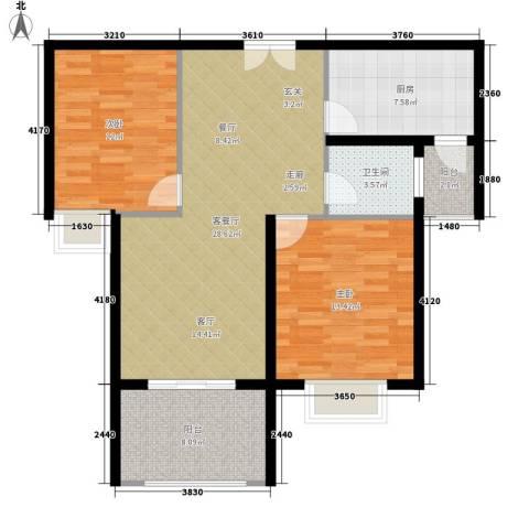 锦绣江南2室1厅1卫1厨106.00㎡户型图