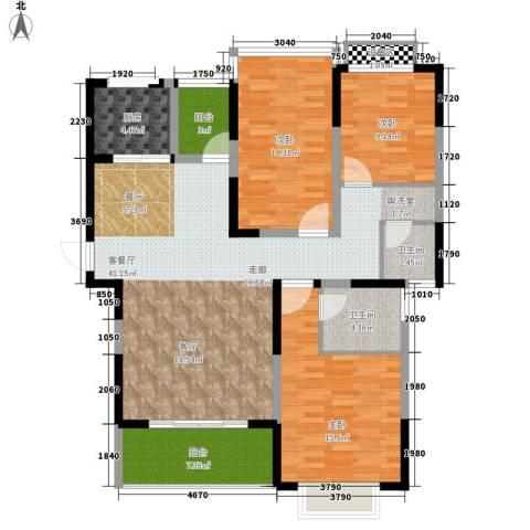 格澜郡3室1厅2卫1厨126.00㎡户型图