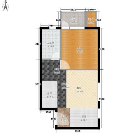 晶彩中心1室1厅1卫0厨78.00㎡户型图