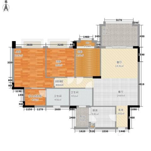 金华花园3室0厅2卫1厨143.00㎡户型图