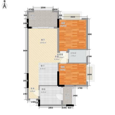 金华花园2室0厅1卫1厨98.00㎡户型图