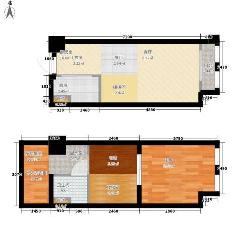 帝景现代城1室0厅1卫1厨53.00㎡户型图