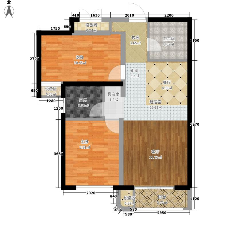 天洋翠堤湾88.50㎡户型2室2厅