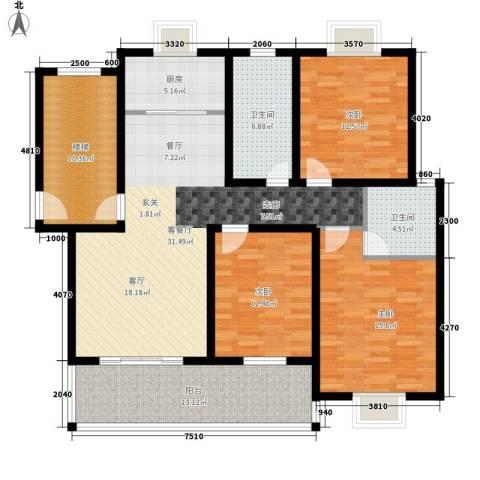 嘉恒・格林恬园3室1厅2卫1厨159.00㎡户型图