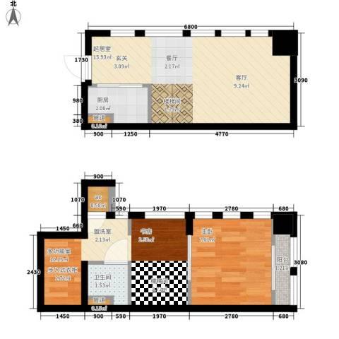 帝景现代城1室0厅1卫1厨48.00㎡户型图