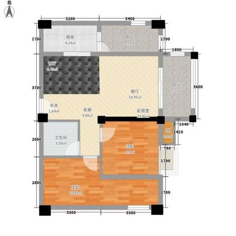 名城金典2室0厅1卫1厨80.00㎡户型图