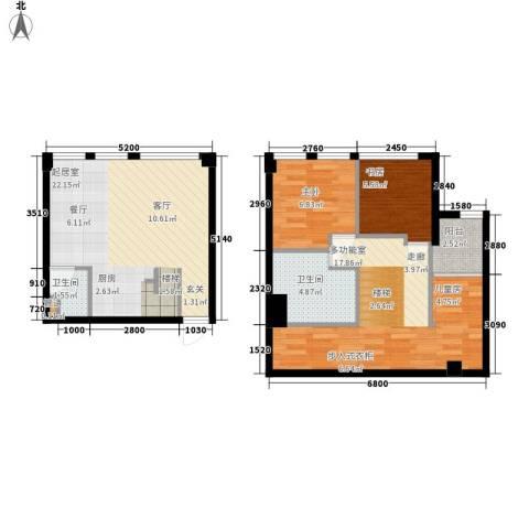 帝景现代城2室0厅2卫0厨70.00㎡户型图