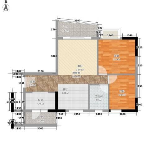 英豪花园2室0厅1卫1厨73.00㎡户型图