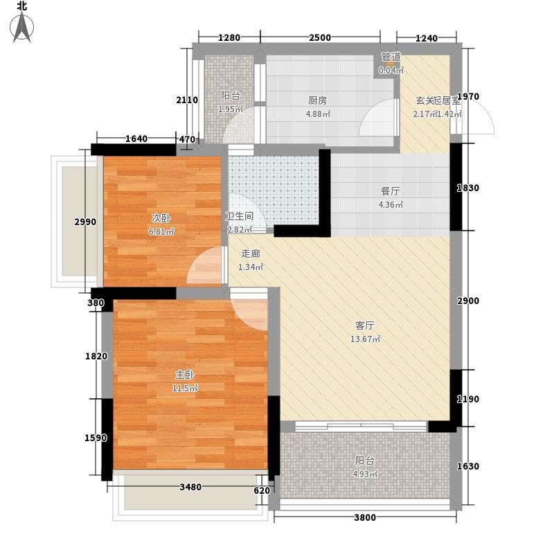 金鹏两江时光59.50㎡一期5-8号楼标准层C6户型
