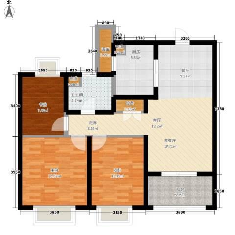 月亮湾3号美颂3室1厅1卫1厨95.00㎡户型图