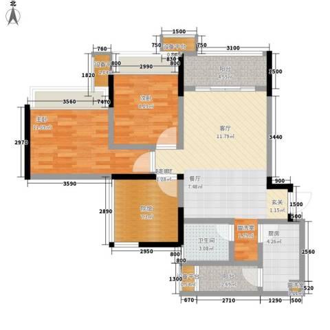 东邦城市花园2室0厅1卫1厨82.00㎡户型图