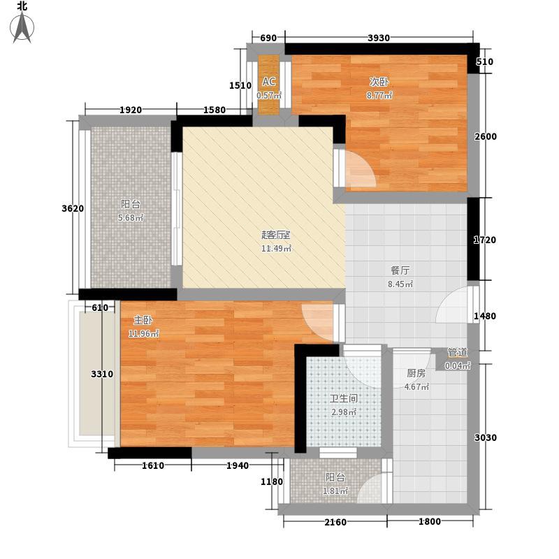 金鹏两江时光59.60㎡一期5-8号楼标准层C1户型