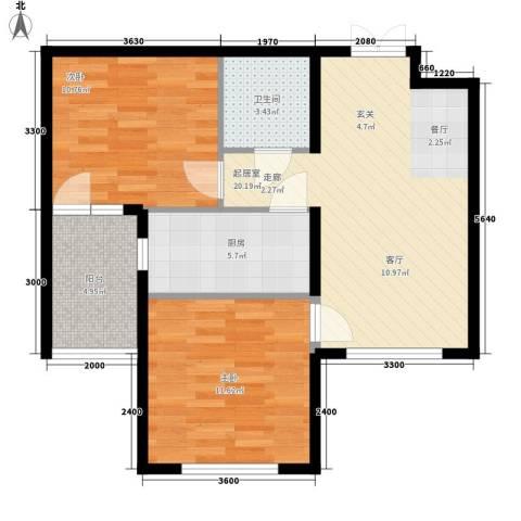 开美国际2室0厅1卫1厨80.00㎡户型图